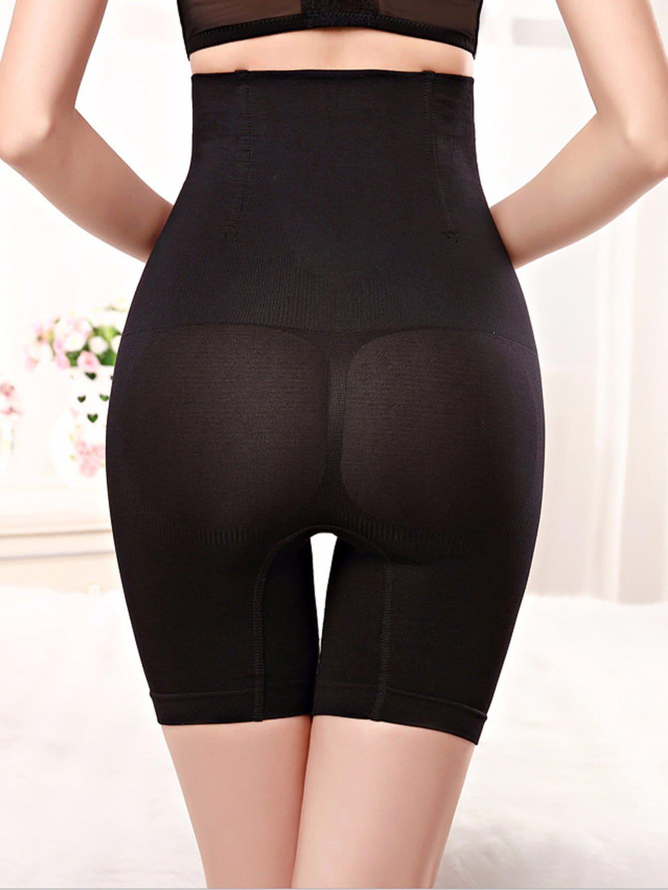 Plus High Waist Control Shorts black high waist shorts