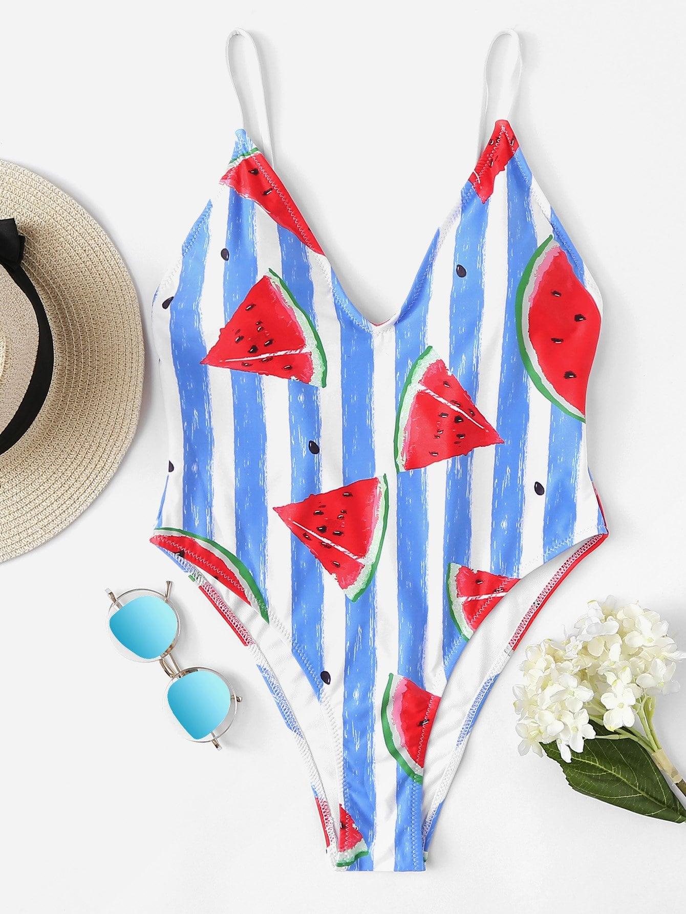 Watermelon Print Striped Swimsuit lobster print striped swimsuit