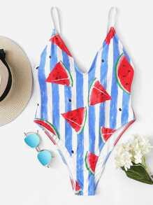 Watermelon Print Striped Swimsuit