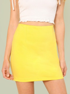 Solid Sheath Mini Skirt