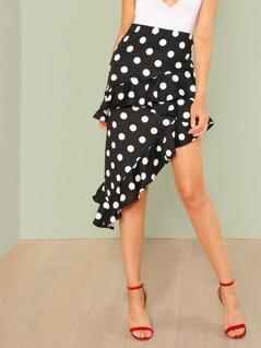 Polka Dot Ruffle Asymmetrical Skirt