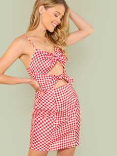 Gingham Print Cut Out Dress with Front Knot Detail