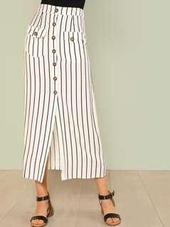 Pinstripe Button Up Maxi Skirt