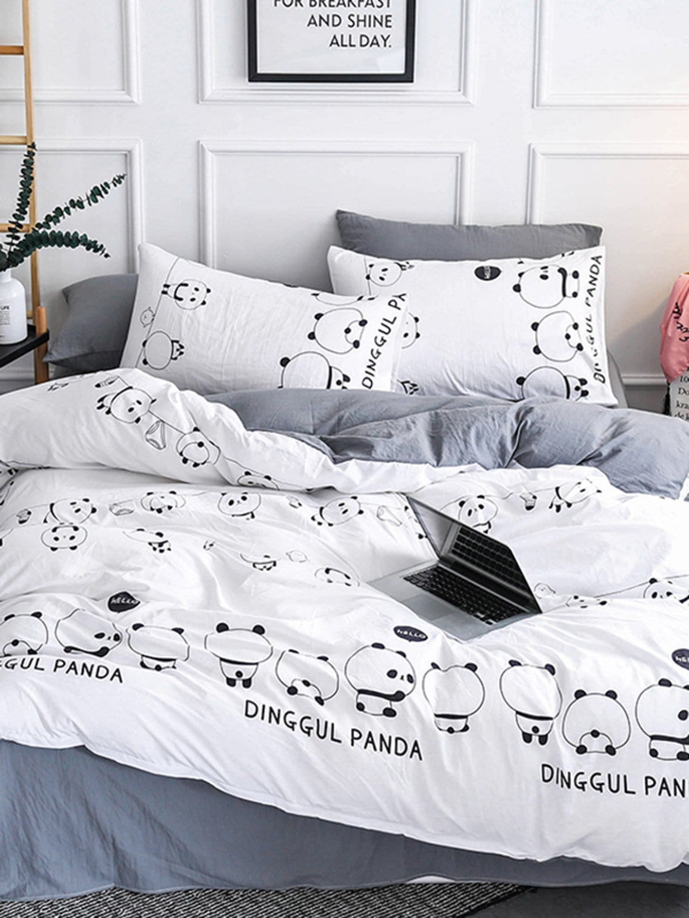 Cartoon Panda & Letter Print Sheet Set автоматический выкидной нож ultratech s e contoured chassis olive drab green 2 tone finish drop point elmax