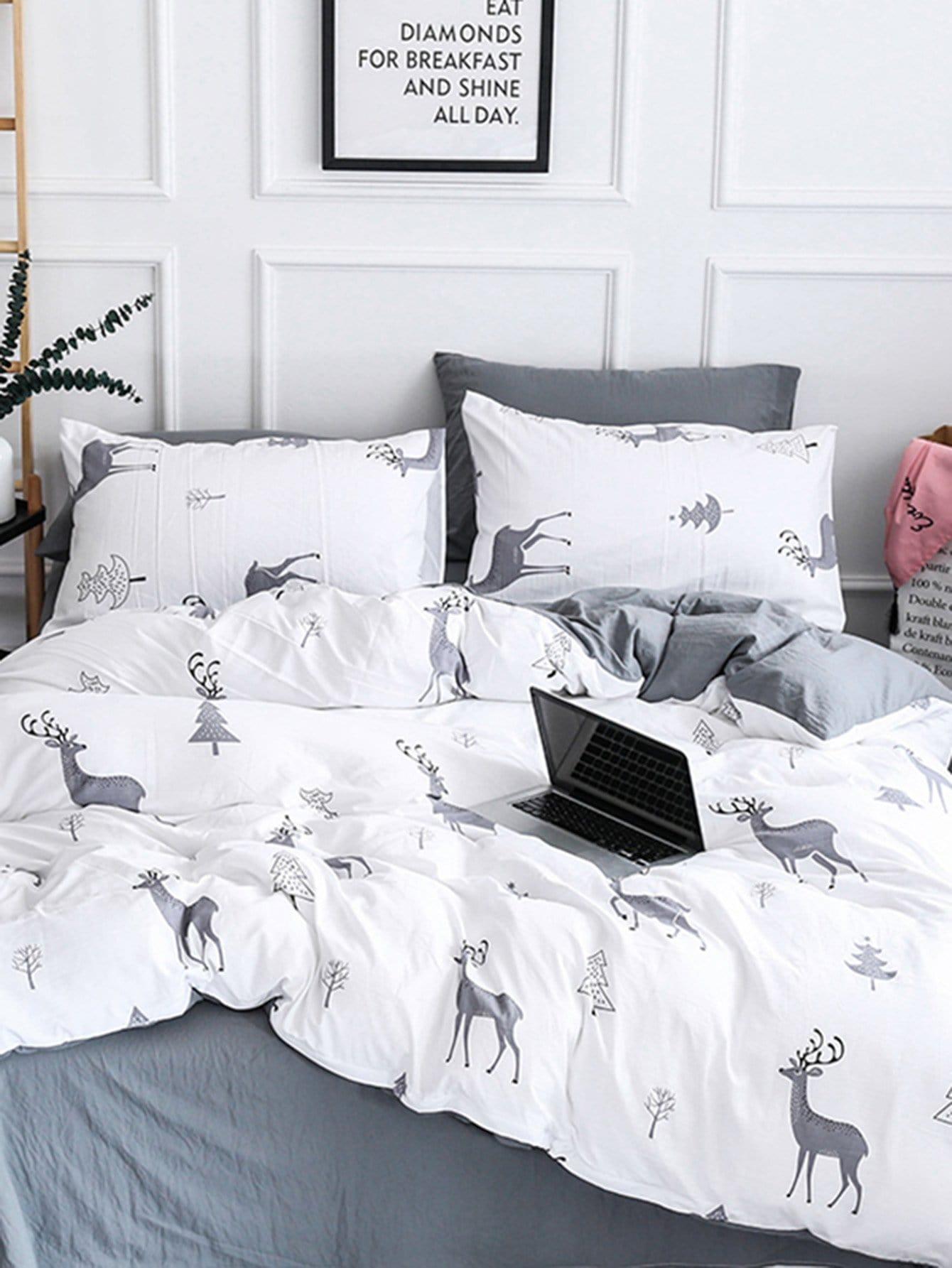 Купить Комплект постельного белья олень и дерево, null, SheIn