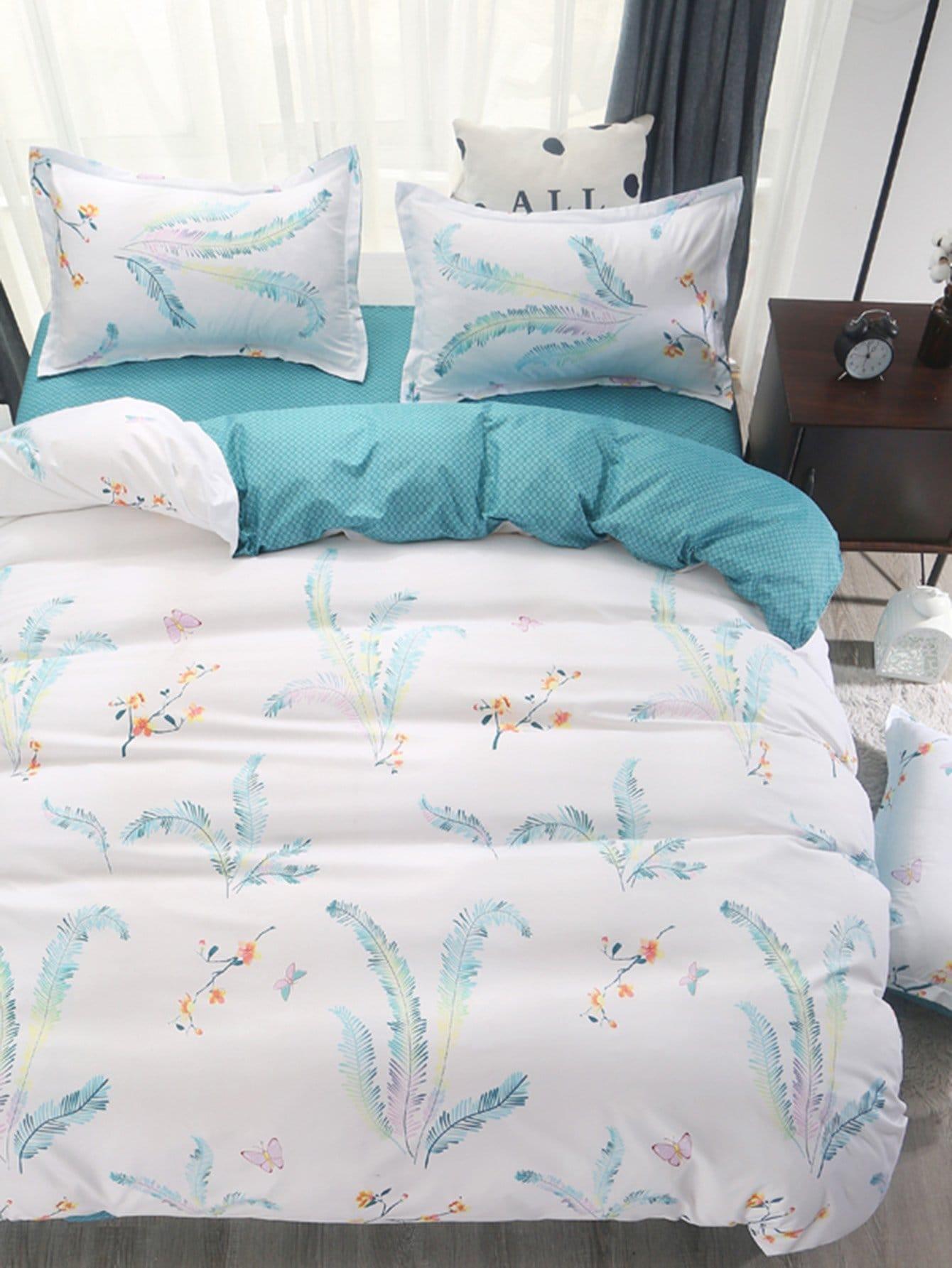 Купить Комплект постельного белья в клетку и цветы, null, SheIn