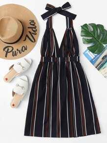 Knot Back Striped Dress