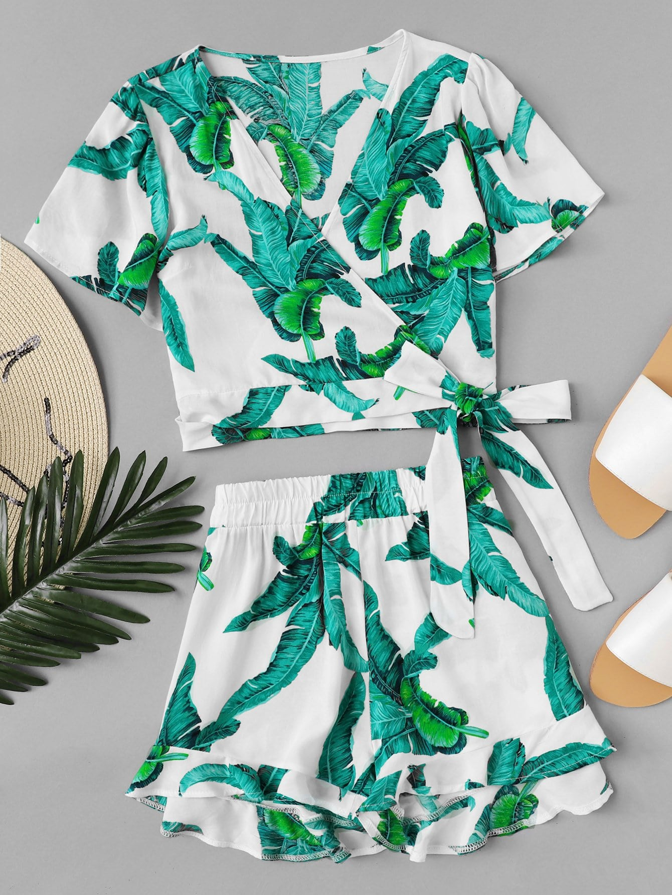 Tropical Print Surplice Blouse With Ruffle Hem Shorts