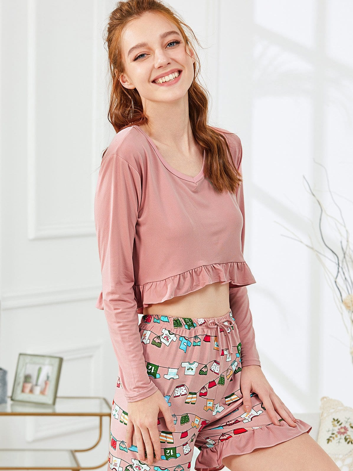 Frill Trim Crop Top & Cartoon Print Shorts PJ Set off shoulder frill trim crop top