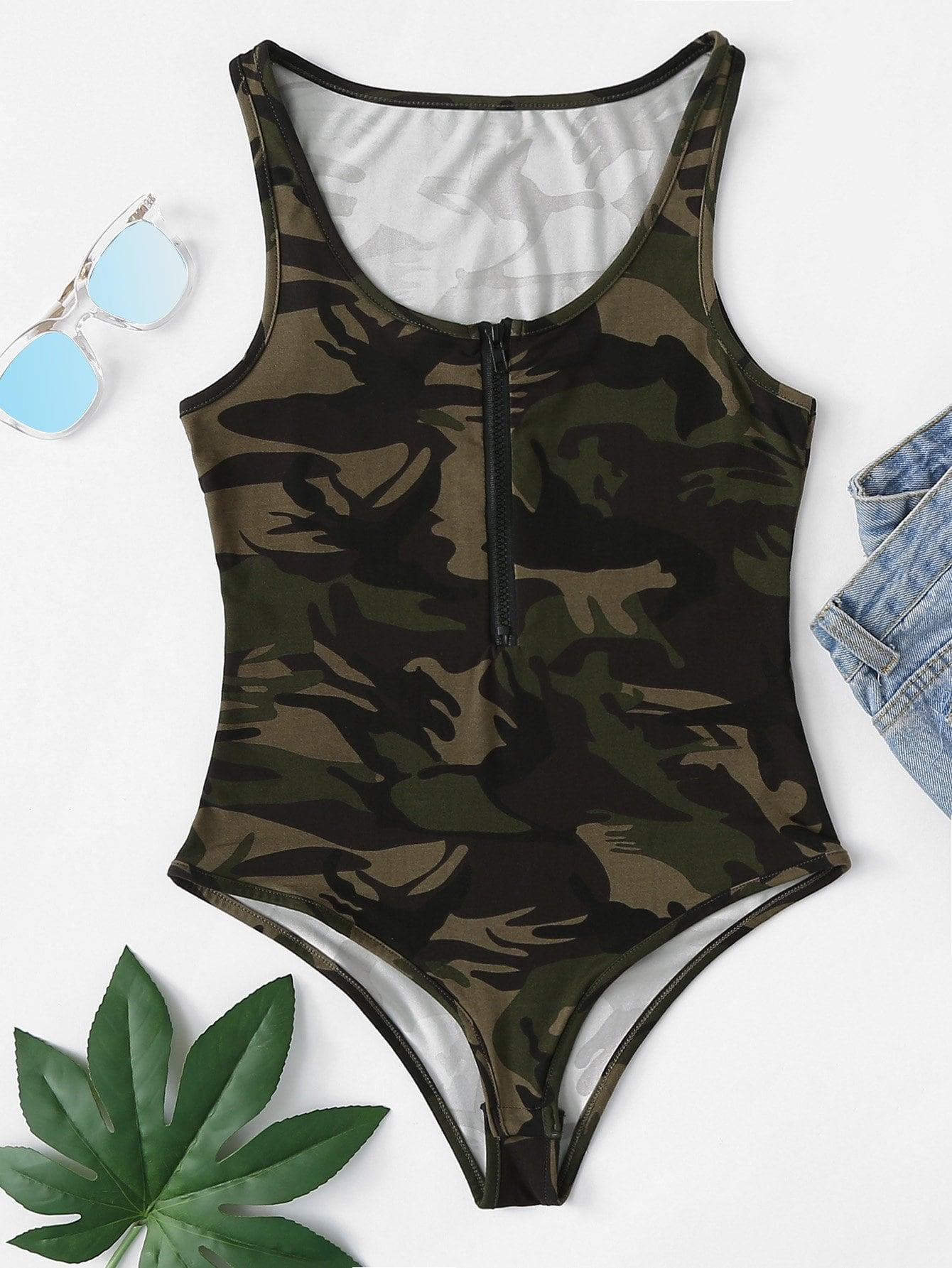Camo Print Zip Up Front Bodysuit