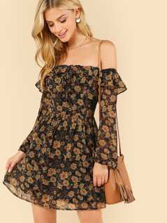 Floral Print Ruffle Trim Bardot Dress
