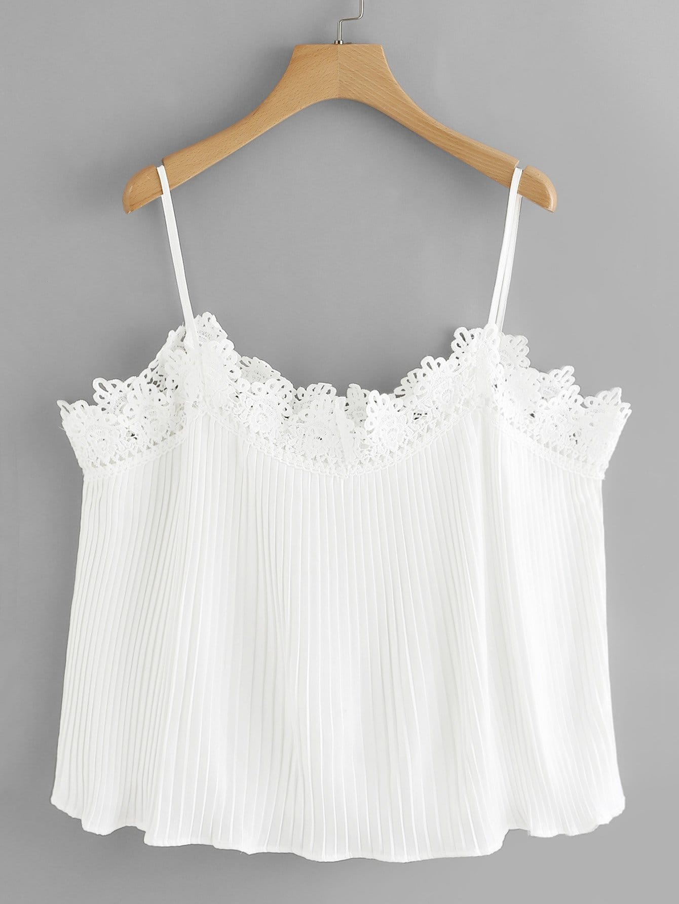 Lace Trim Cold Shoulder Pleated Top box pleated ruffle cold shoulder top