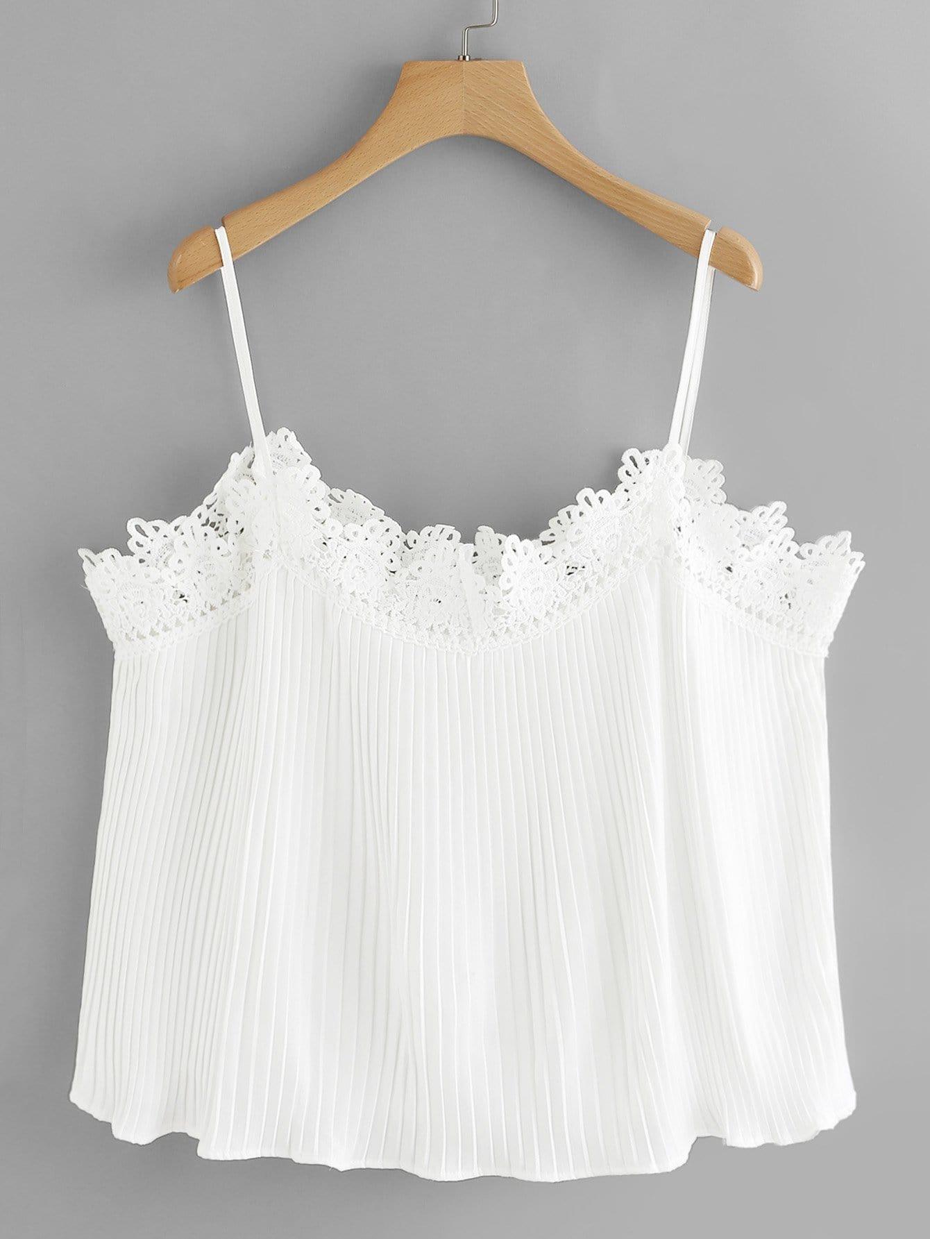 Lace Trim Cold Shoulder Pleated Top lace yoke cold shoulder top