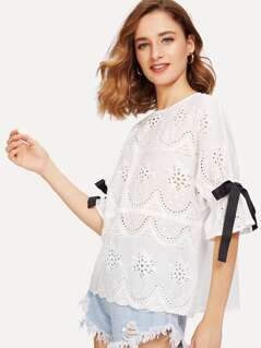 Eyelet Embroidery Scalloped Hem Blouse