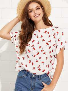 Allover Cherry Print Tunic Top
