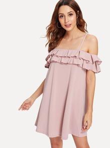 Flounce Foldover Cold Shoulder Dress