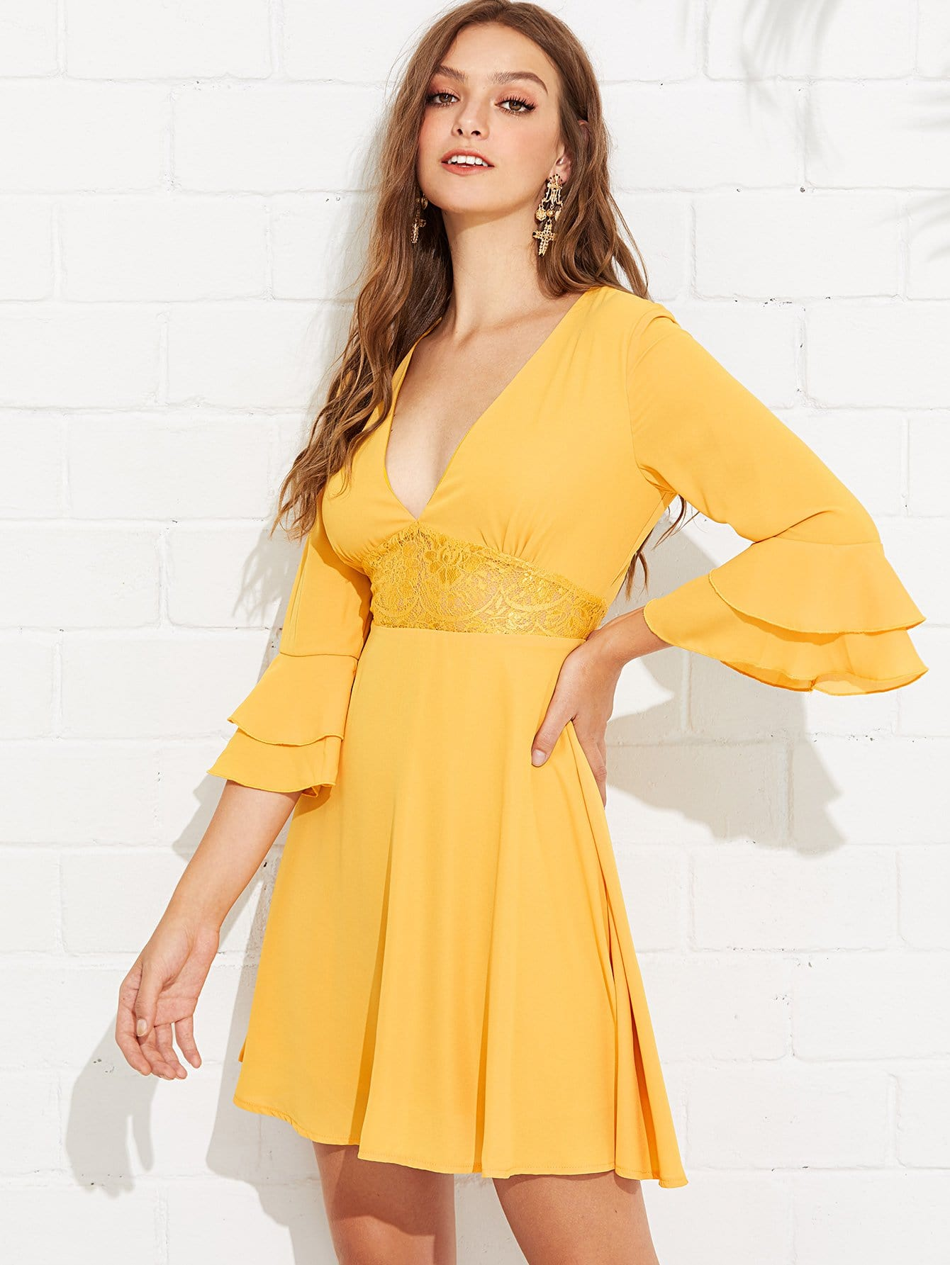 Lace Panel Layered Bell Sleeve Dress mesh panel layered oversized sleeve dress