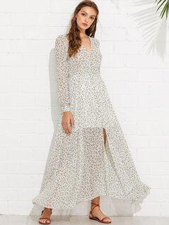 Buttoned V-Neck Calico Dress