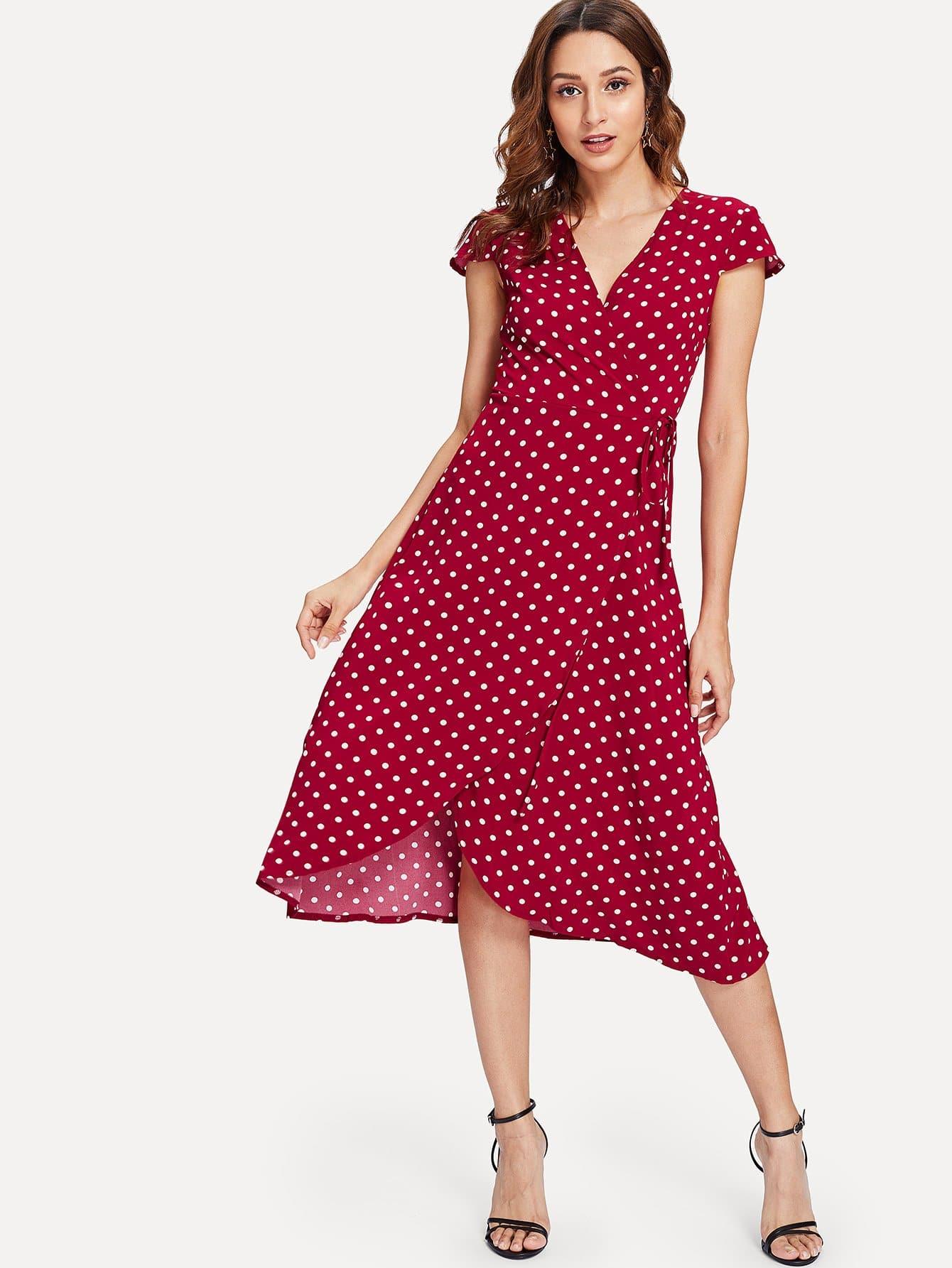 Polka Dot Print Wrap Dress чистящеесредствоуниверсальное для