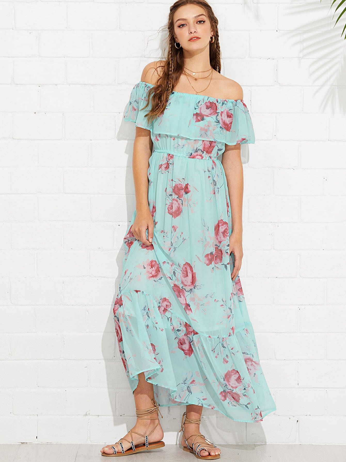 Flounce Off Shoulder Floral Dress flounce off shoulder floral dress