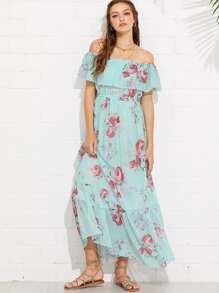 Flounce Off Shoulder Floral Dress