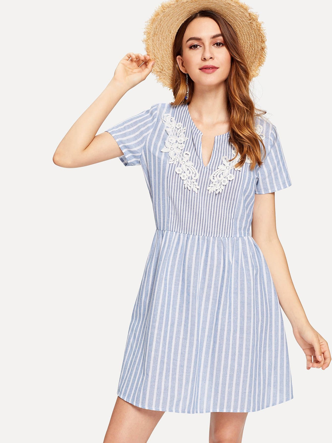 V-Cut Front Lace Applique Striped Dress lace up front striped sleeve dress