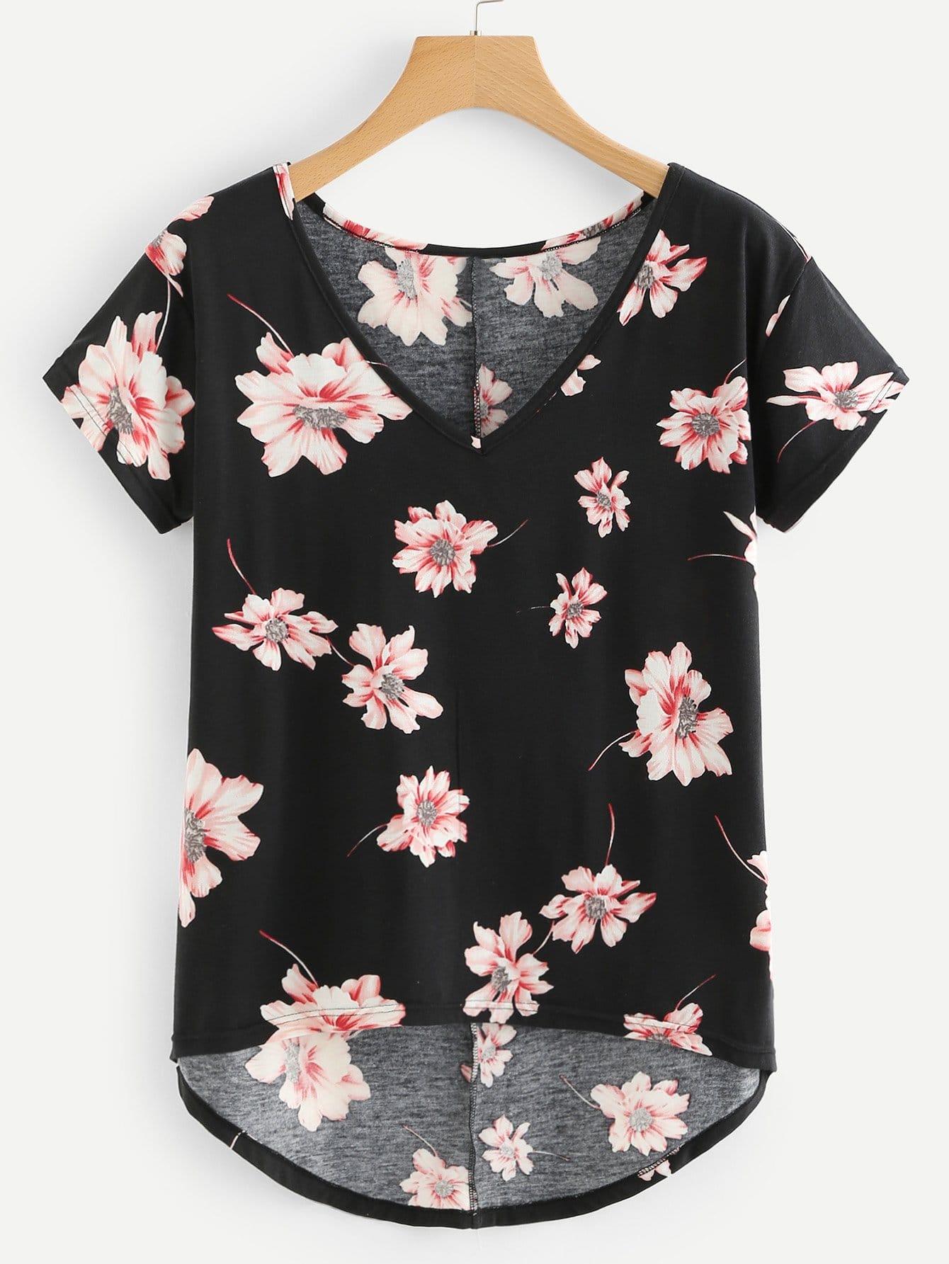 Flower Print Dip Hem T-shirt redfox футболка flower t 42 4300 желтый