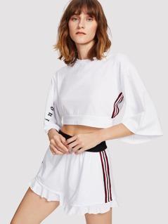 Bell Sleeve Crop Top & Ruffle Shorts Set
