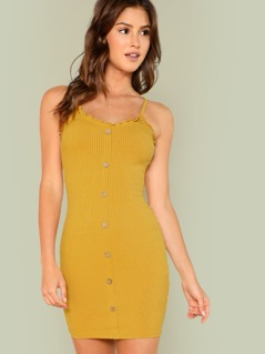 Button Up Ribbed Cami Dress