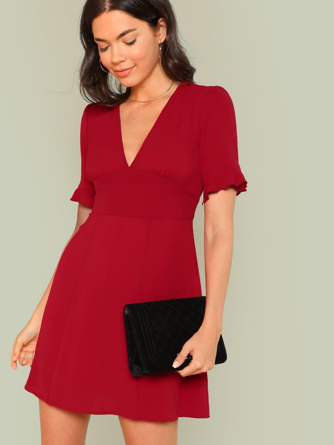 Ruffle Sleeve Bodice Fit & Flare Dress ln knits пальто