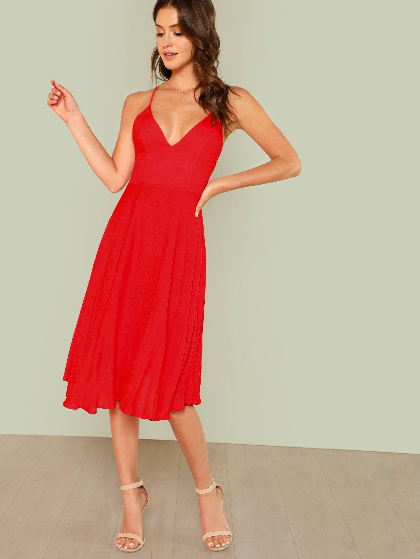 Solid Swing Dip Hem Cami Dress cowl neck dip hem swing dress