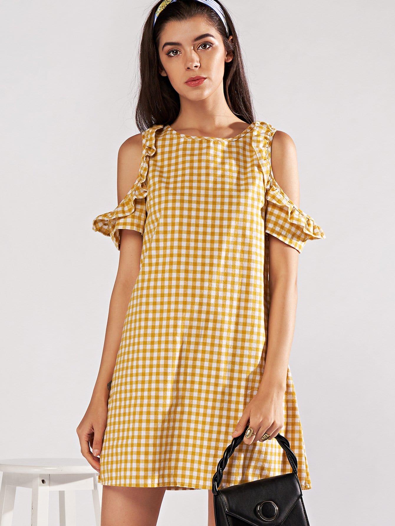 Open Shoulder Frill Trim Plaid Dress open shoulder frill trim plaid dress
