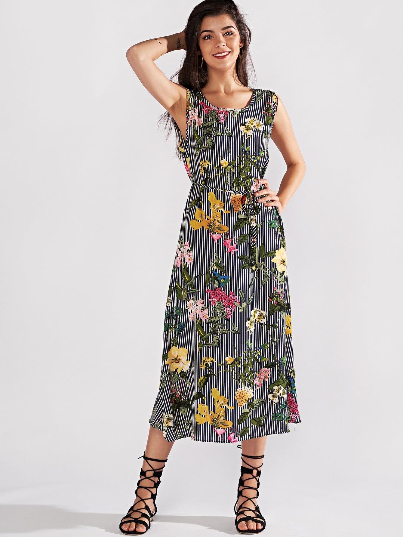 Купить Позолоченное полосатое цветочное платье для печати, null, SheIn