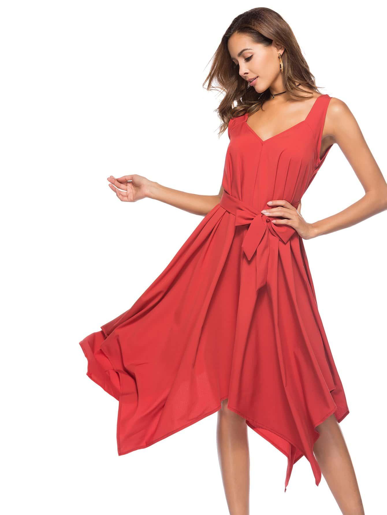Asymmetrical Hem Belted Dress asymmetrical hem color block dress