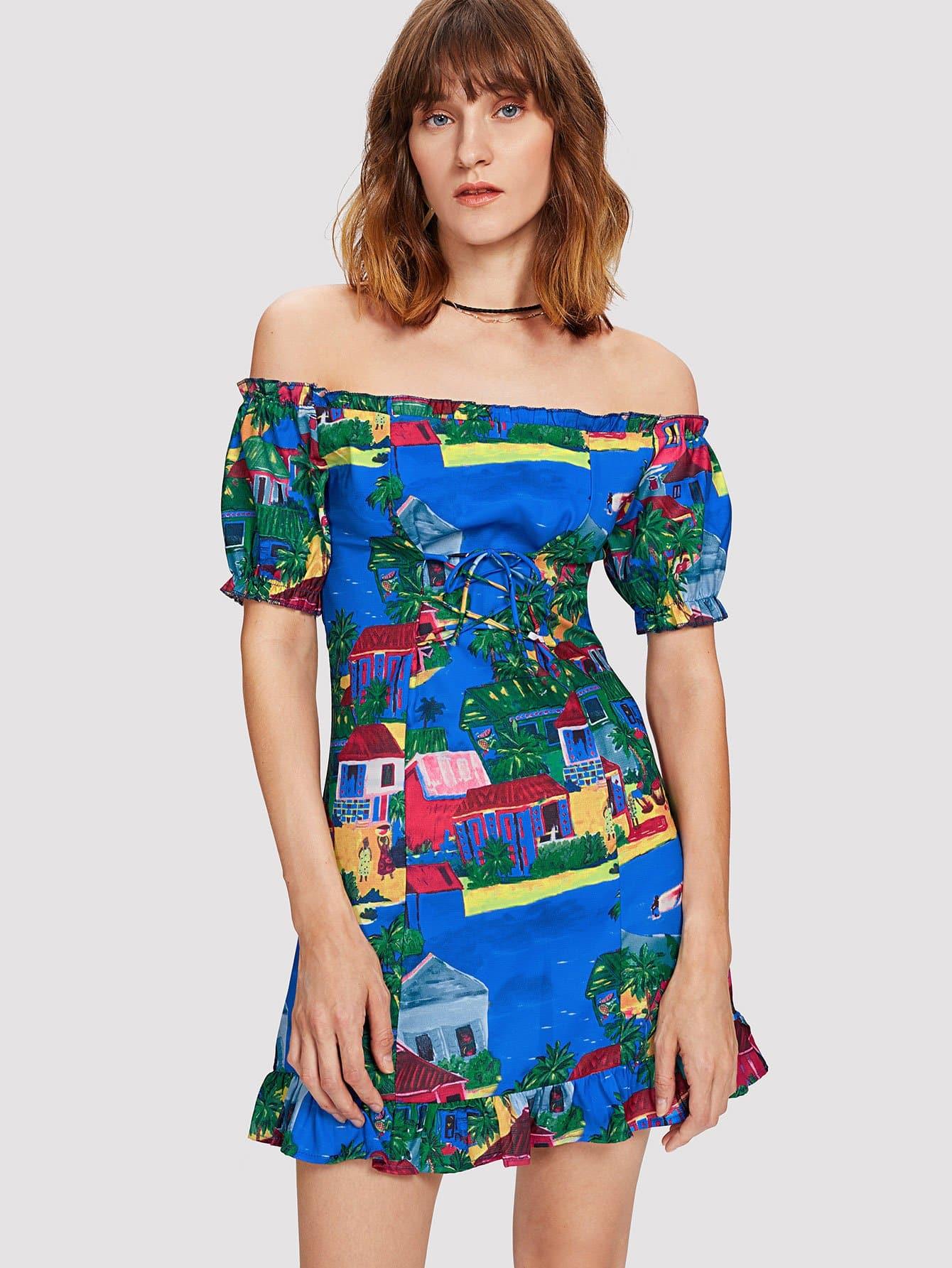 все цены на Oil Painting Print Frill Trim Bardot Dress