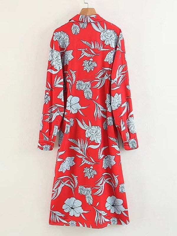 Botanical Print Knot Front Shirt Dress by Sheinside