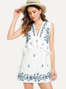 Ruffle Trim Embroidered Dress