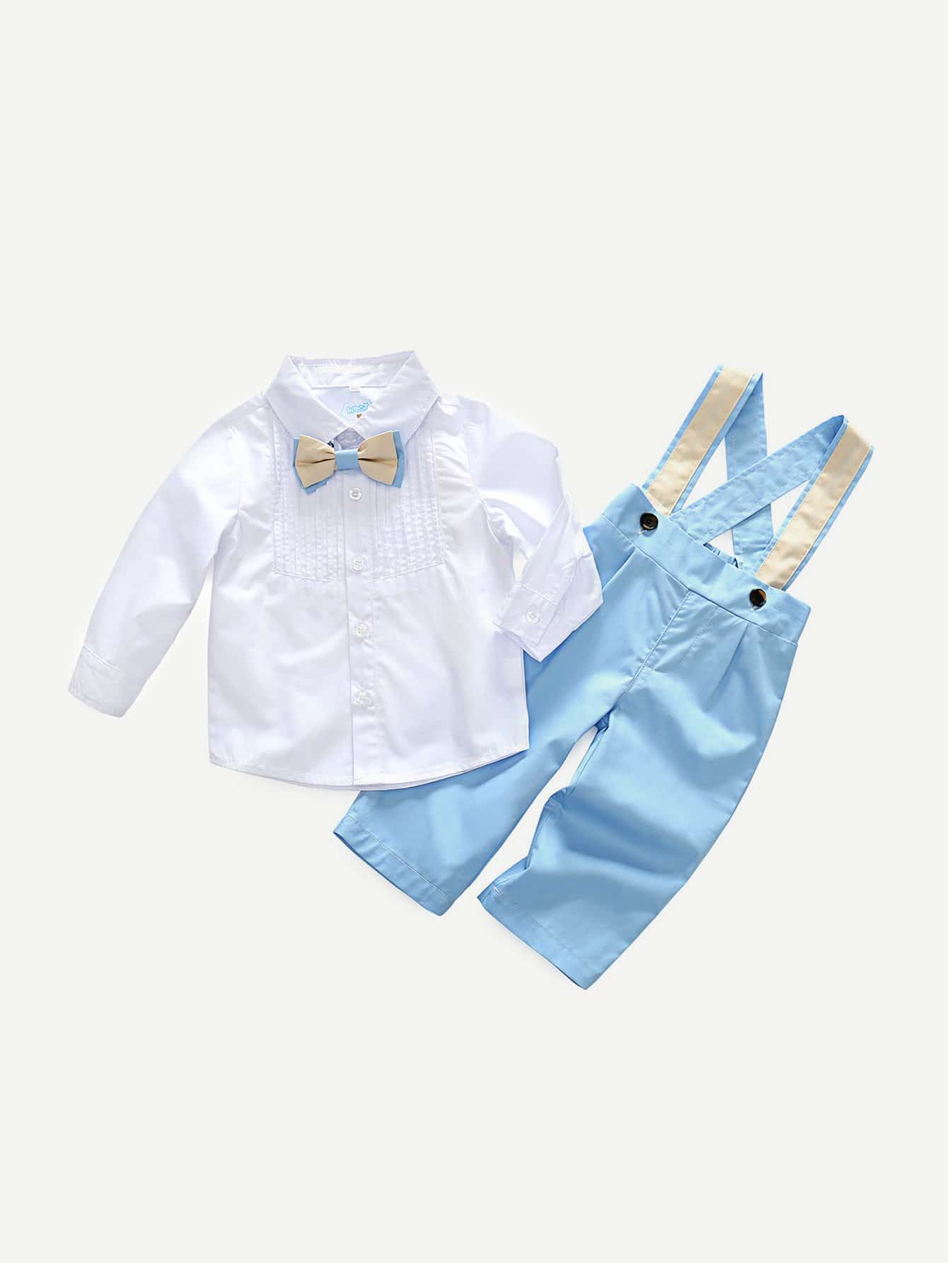 Boys Bow Front Pleated Top With Overall overall yumi overall