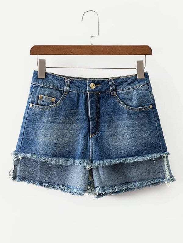 Fringe Hem Denim Shorts sweet wavy hem design striped shorts for women