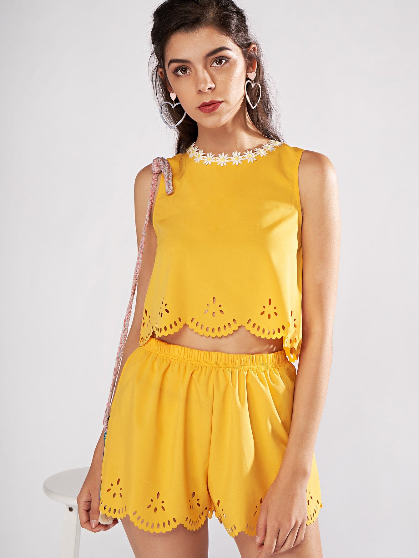 Lace Panel Hollow Out Top With Shorts lace panel hollow out top with shorts
