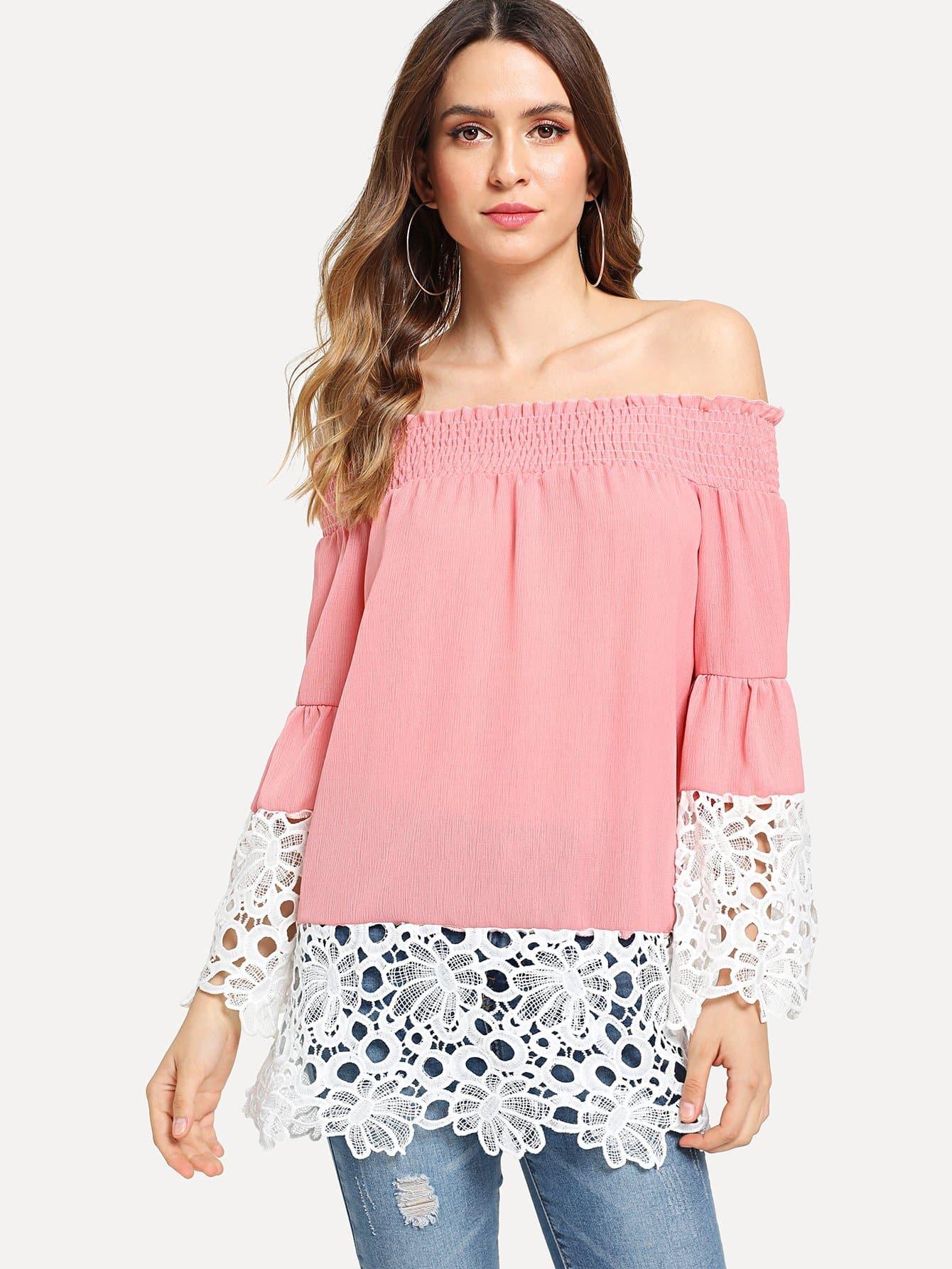 Contrast Crochet Lace Off Shoulder Blouse lace crochet contrast off shoulder stripe blouse