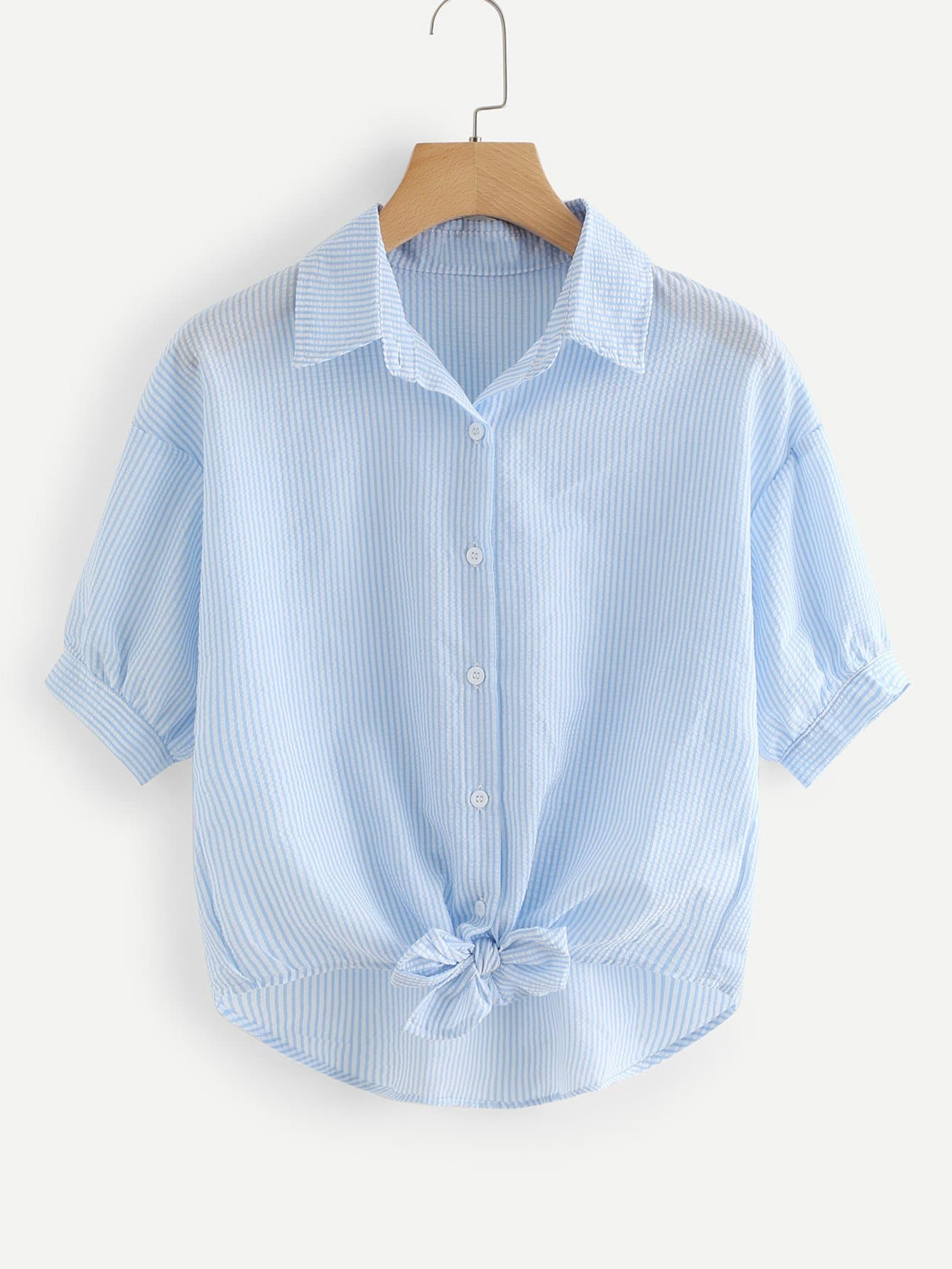 Knot Dip Hem Striped Shirt all over florals dip hem shirt