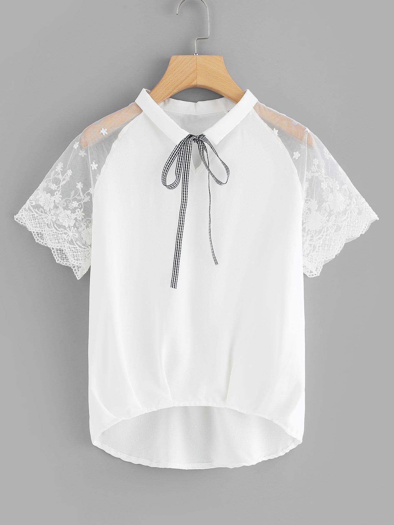 Tie Neck Lace Raglan Sleeve Blouse tie neck lace detail cape sleeve blouse