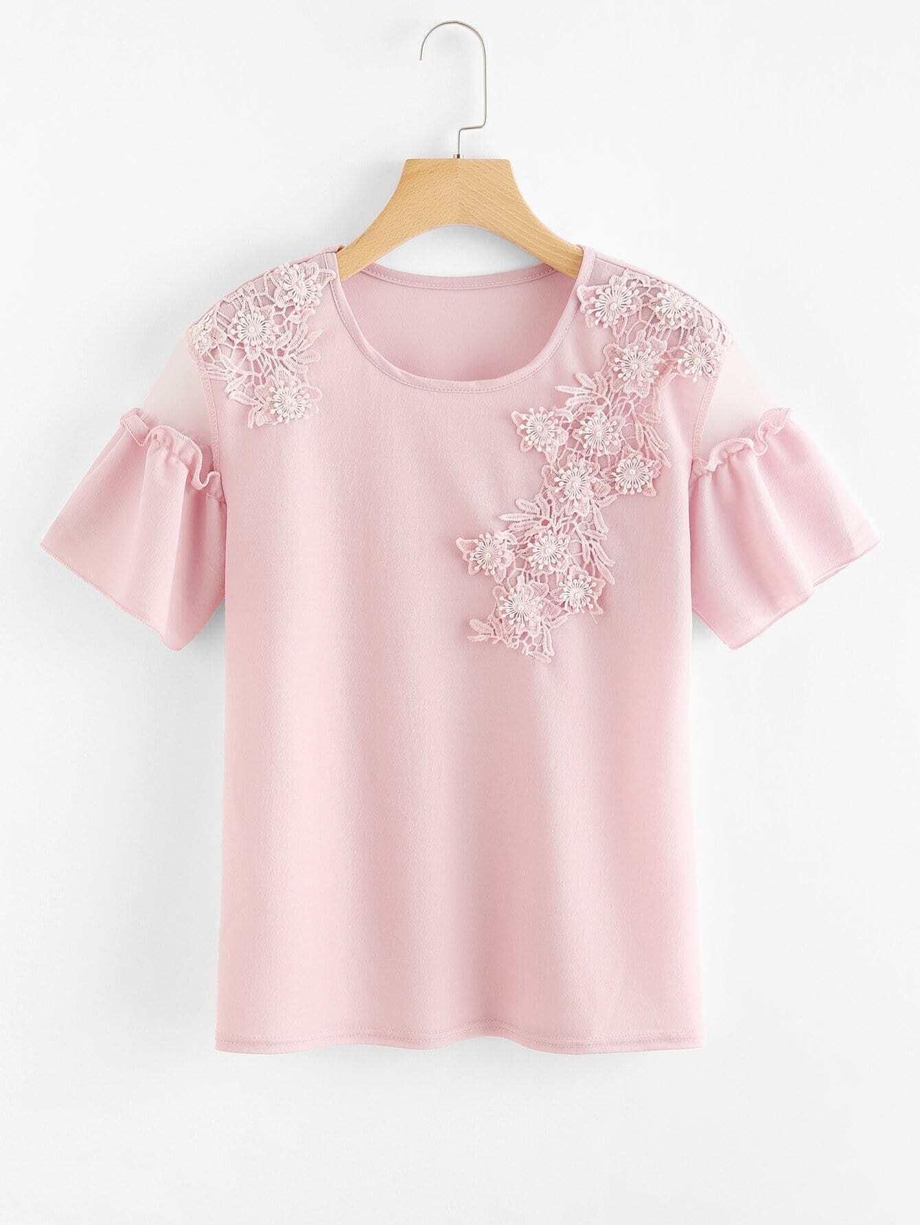 Купить Блузка в цветочек с жемчужинами, null, SheIn