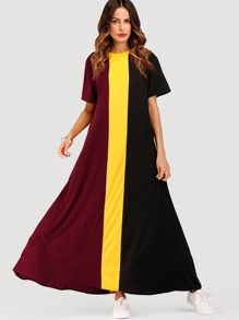 Cut And Sew Colorblock Dress