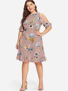 Floral Print Open Shoulder Ruffle Striped Dress