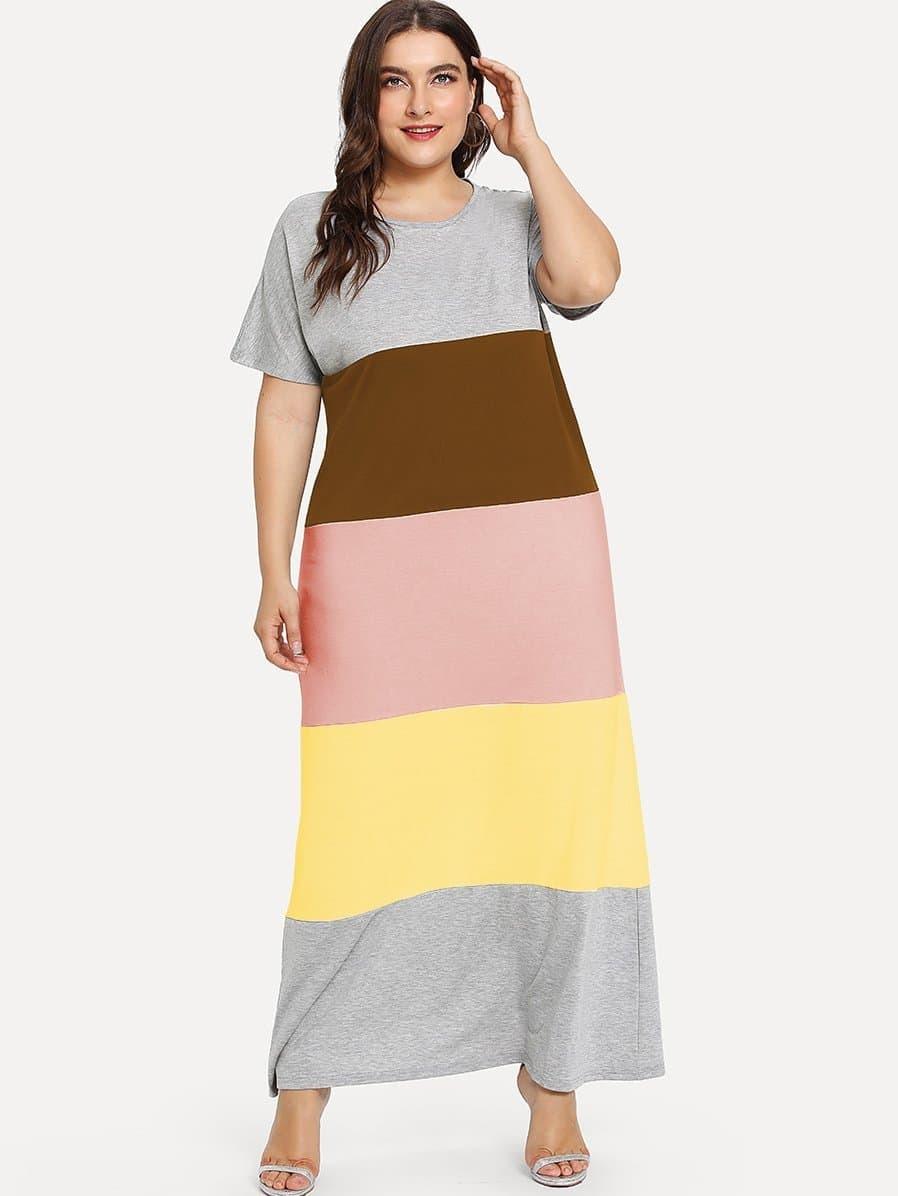 Plus Cut And Sew Color Block Dress