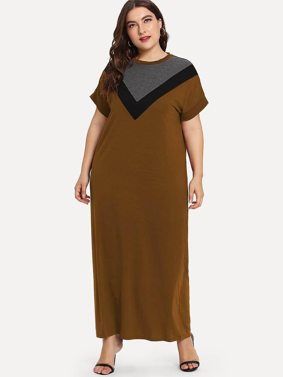 Plus Chevron Print Colorblock Dress