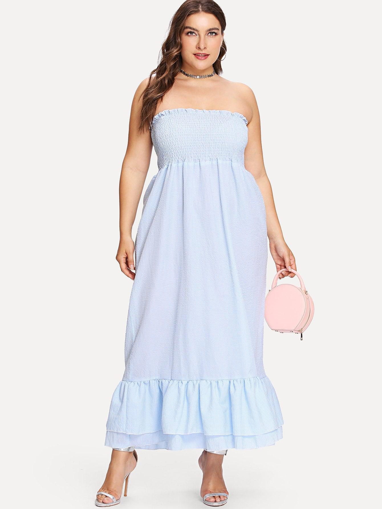 Plus Tiered Ruffle Hem Shirred Tube Dress