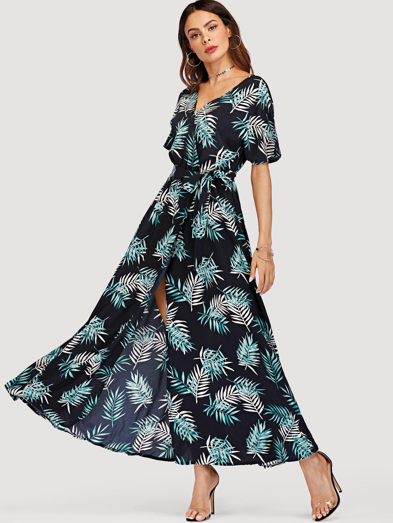Leaf Print Knot Waist Split Dress one shoulder waist knot split striped dress